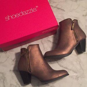 Shoe Dazzle Bronze Zipper Booties - Bobbie